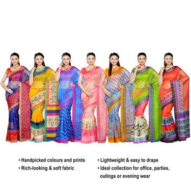 Vanita Pack of 7 Printed Kota Doria Sarees (7K8)