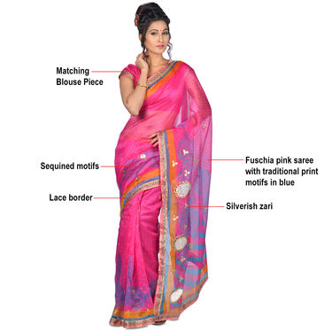 Vedika Pack of 6 Embroidered Jodhpuri Sarees