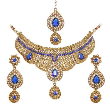 Vendee Fashion Exquisite Crafted Necklace Set - Blue - 8293