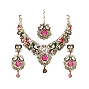 Vendee Fashion Motivated Bridal Necklace Set - Pink & Green - 8312
