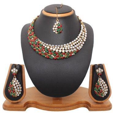 Vendee Fashion Gorgeous Choker Necklace Set - Maroon & Green - 8330