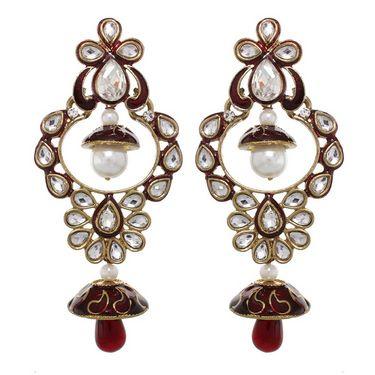 Vendee Fashion Princess Wear Earrings - Maroon - 8381