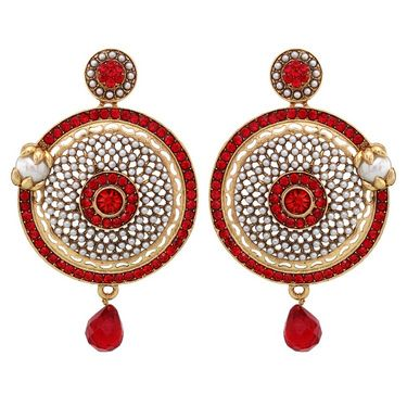 Vendee Fashion Ethnic Earrings - Orange - 8412