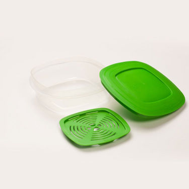 Cutting EDGE Veggie Fresh Refrigerator Storage 1000ml Container Set of 6 With Special Freshness Trays Green