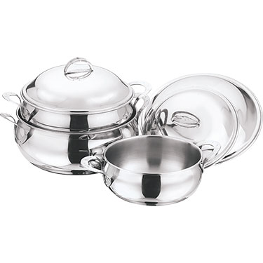 Vinod Kraft Genoa 3pcs Cook & Serve Set - Silver