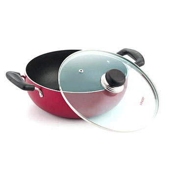Vinod Zest Induction Friendly 220mm Deep Kadai With Lid - Red & Black