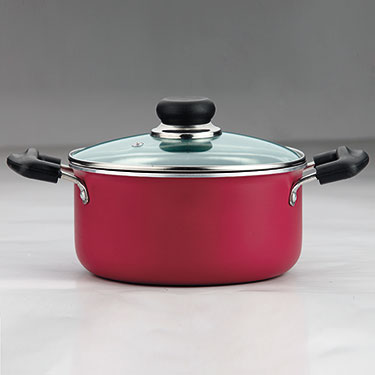 Vinod Zest Induction Friendly Casserole With Lid - Red & Black