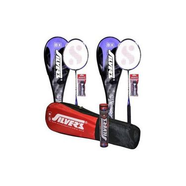 Silver'S Pack Of 2 Wind Badminton Racquet With Full Cover(Assorted) + 2 Pvc Grip +  Kitbag + Box Suzuki Shuttle Cock (Pack Of 10)