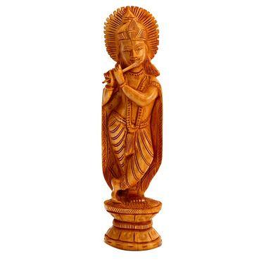 Beautifully Carved Wooden Krishna Idol-WUD15306