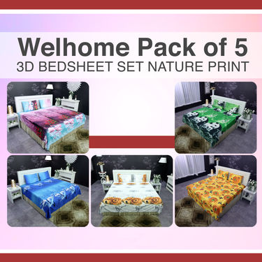 Welhome Pack of 5 - 3D Bedsheet Set Nature Print