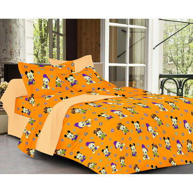 Valtellina Cartoon With Stripes Design  Multi Color Double bedsheet With 2 Pillow cover