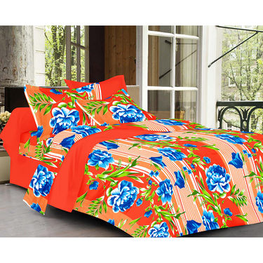 Valtellina Floral Design Orange Color   Stripes Double bedsheet With 2 Pillow cover