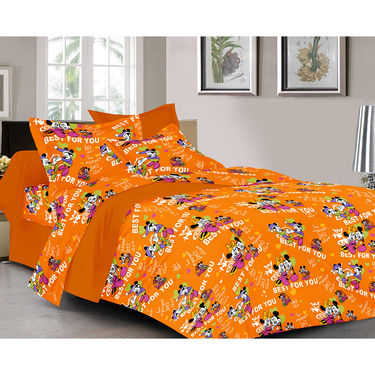 Valtellina Cartoon Design Orange Color Double bedsheet With 2 Pillow cover