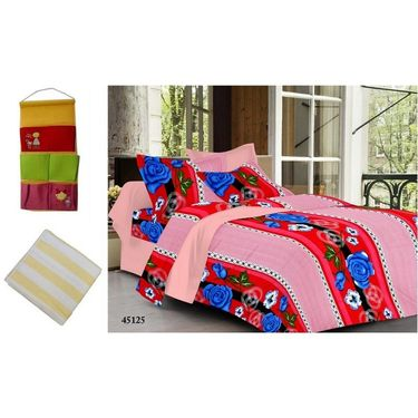 Combo of Valtellina Double Bedsheet + 2 Pillow Cover + 1 Bath Towel & 1 Hanging Bag_Ytd085