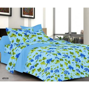 Combo of Valtellina Double Bedsheet + 2 Pillow Cover + 1 Bath Towel & 1 Hanging Bag_Ytd105