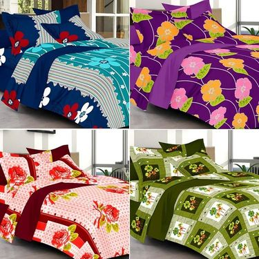Valtellina Combo of 4 Double Bed Sheets with 8 Pillow Covers-YTD_C2_29_33_39_40