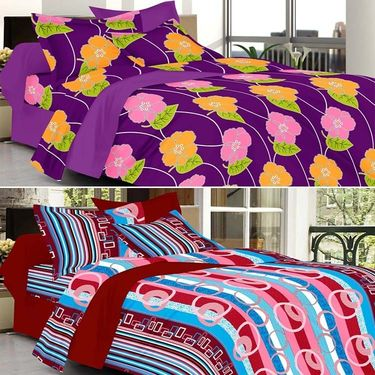 Valtellina Combo of 2 Double Bed Sheets with 4 Pillow Covers-YTD_C2_55_29
