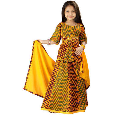 Little India Yellow Rajasthani Zigzag Design Lehanga Choli - DLI3GED106B