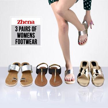 Zhena 3 Pairs of Women's Footwear