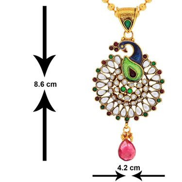 Spargz Enamel Peacock Pendant Set_Aips159
