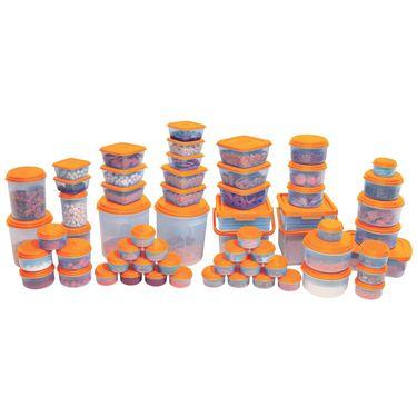 Asian Unique Multipurpose Food Grade Virgin Plastic Container (60 PCS Combo Set) Orange