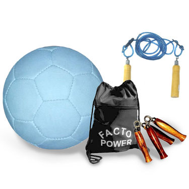 White (1331) Football Size 5  with Skipping Rope, Gripper, Gym Bag