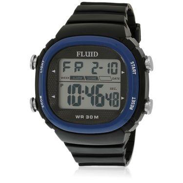 Fluid Digital Square Dial Watch For Unisex_d02bl01 - Black & Blue