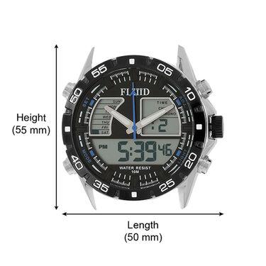 Fluid Analog & Digital Round Dial Watch For Unisex_d05bl01 - Black & Blue