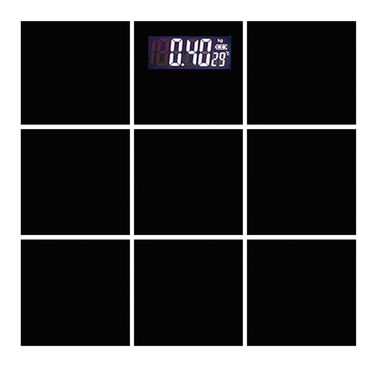Thick Glass Square Shaped Automatic Personal Weighing Scale - Black