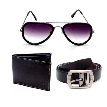 Combo of Porcupine Reversible Belt + Wallet + Sunglasses_GRJCOMBO-3