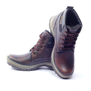 foot n style Synthetic Leather Boots - Brown-4290