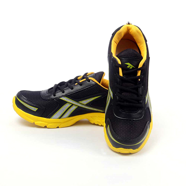 Foot n Style Synthetic  leather Sports Shoes  FS427 - Black & Yellow