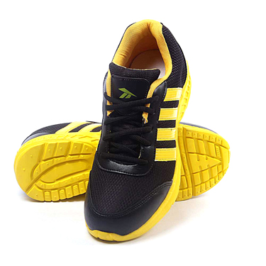 Foot n Style Synthetic  leather Sports Shoes  FS430 - Black & Yellow