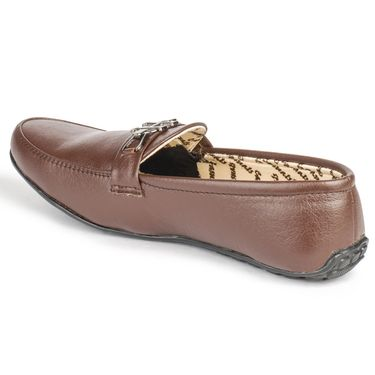 Foot n Style Leather Tan Loafers Shoes -fs3004