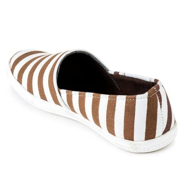 Foot n Style Canvas Brown & White Casual Shoes -fs3136