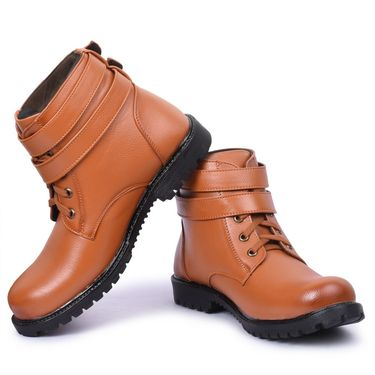 Foot n Style Leather Tan Boots -Fs4003