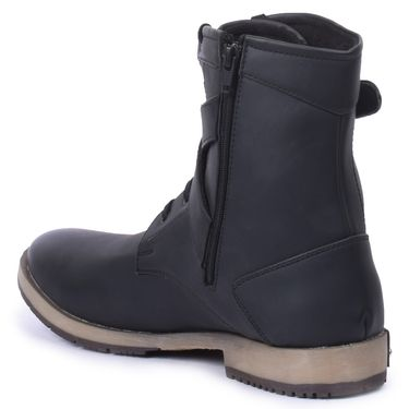 Foot n Style  Faux Leather Black Boots -Fs4009