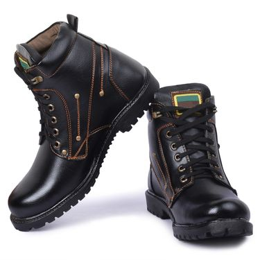 Foot n Style Leather Black Boots -Fs4016