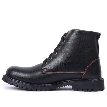 Foot n Style Leather Black Boots -Fs4019