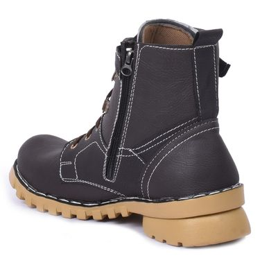 Foot n Style Leather Black Boots -Fs4021