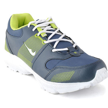 Foot n Style Synthetic Leather Sports Shoes FS 490 -Grey & Yellow