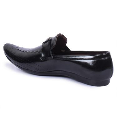 Foot n Style Leather Black Loafers Shoes -Fs5000