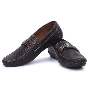 Foot n Style Leather Brown Loafers Shoes -Fs5005