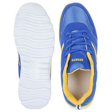 Foot n Style Synthetic Leather Sports Shoes FS 526 -Blue & Yellow