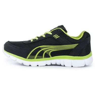 Foot n Style Synthetic Leather Sports Shoes FS 533 -Black & Yellow