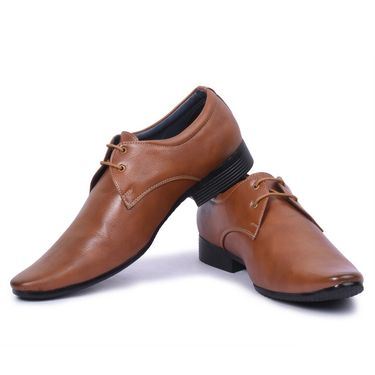 Foot n Style Leather Brown Formal Shoes -Fs7001