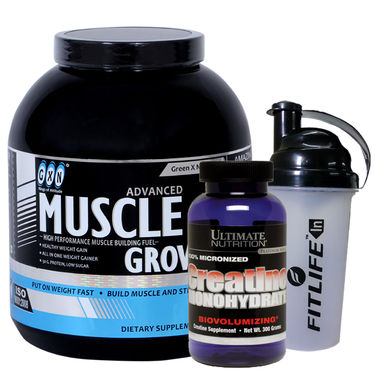 Gxn Advance Muscle Grow, 4 Lb ( 1.18Kgs ) Vanilla+ Ultimate Nutrition Creatine Monohydrate 300g