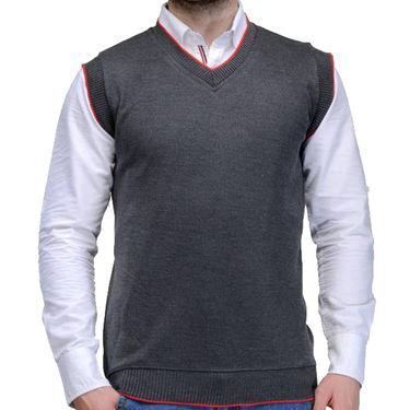 Oh Fish Plain Sleeveless V Neck Sweater For Men_Sdgry1 - Dark Grey