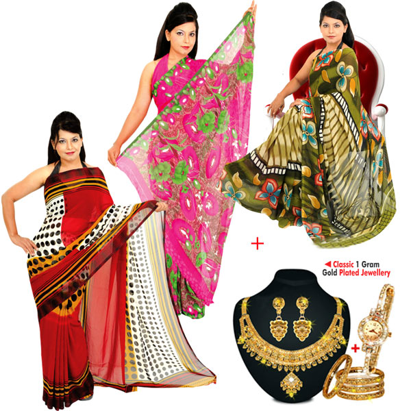 Buy Stylish 3 Printed Georgette Sarees + Classic 1 Gram Gold Plated  Jewellery Online at Best Price in India on Naaptol.com