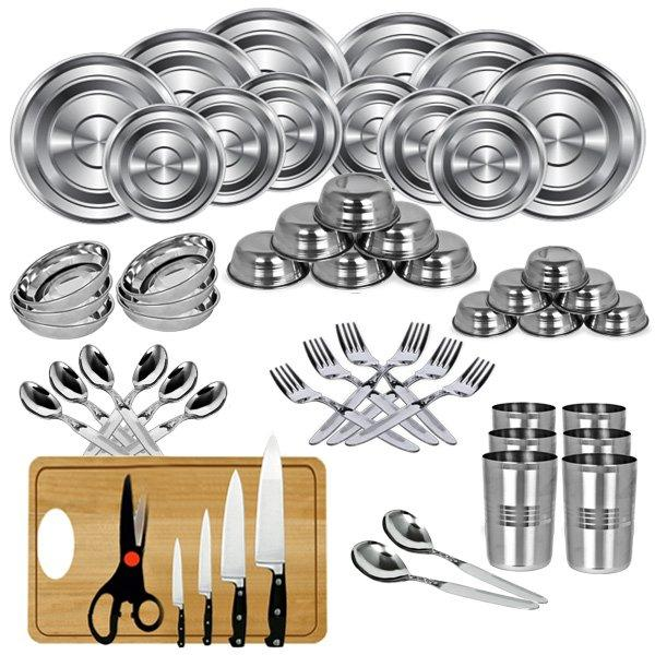 Buy 50 Pcs Stainless Steel Dinner Set Knife Set Chopping Board
